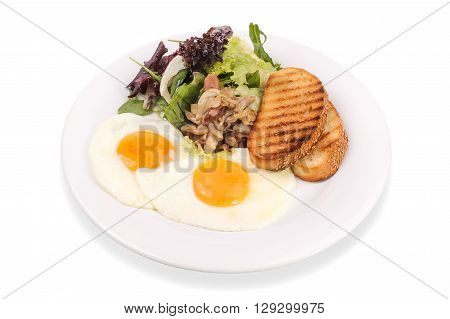 Fried egg with mushrooms, salas and tosts  isolated
