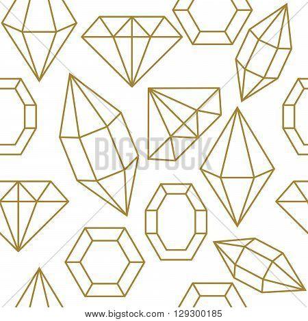 Diamond gem shape golden line seamless pattern. Diamond geometric outline objects on white background.