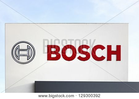 Esbjerg, Denmark - May 6, 2016: Bosch logo on a panel. Bosch is a German multinational engineering and electronics company headquartered in Germany. It is the world's largest supplier of automotive components
