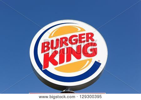 Aalborg, Denmark - May 8, 2016: Logo of the fast food chain Burger King. Burger King is a global chain of hamburger fast food restaurants