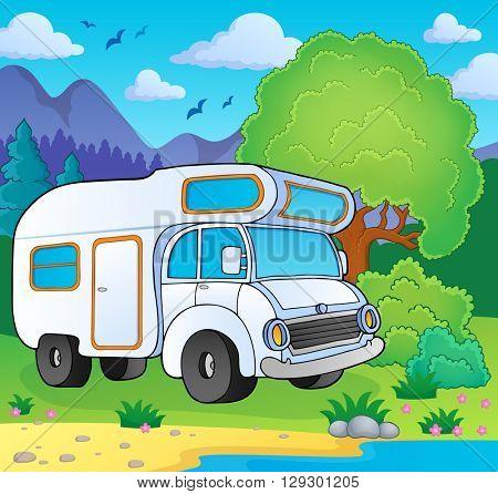 Camping van on lake shore - eps10 vector illustration.
