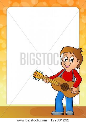 Stylized frame with boy guitar player - eps10 vector illustration.