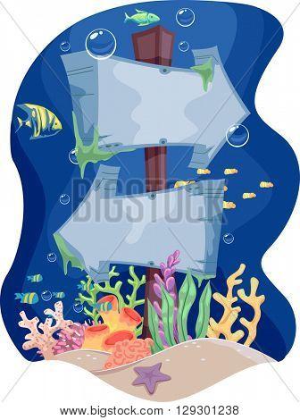 Illustration Featuring Underwater Signage