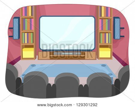 Illustration Featuring the Interior of a Home Theater