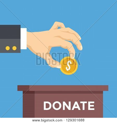 Hand with coin and box with donate word. Donation, charity flat concept. Vector illustration