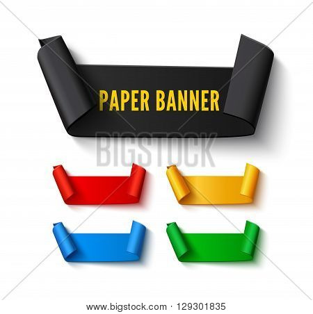 Set of colorful curved paper ribbon banners with rolls and space for text isolated on white background. Realistic vector paper template for sale promo and advertising. Colorful ribbon web banners with shadow
