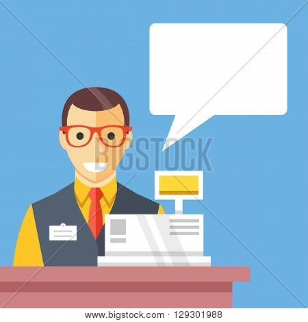 Supermarket cashier and speech bubble. Counter desk, cash register, clerk, checkout flat design concept. Creative vector illustration isolated on blue background