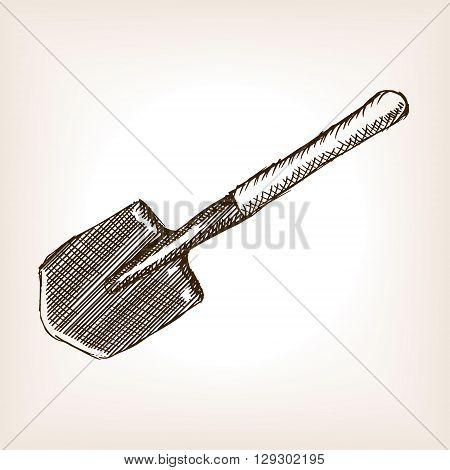 Sapper shovel sketch style vector illustration. Old engraving imitation.