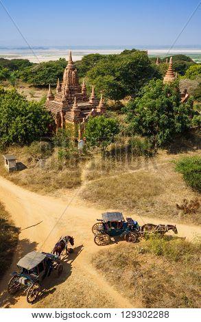 The Horse car in the plain of Bagan(Pagan) Myanmar