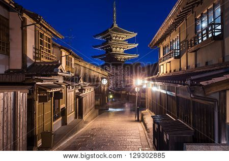 Yasaka Pagoda at night Higashiyama District Kyoto Japan