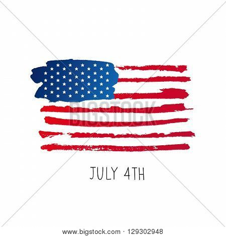 American flag. 4th of July. The trend calligraphy. Excellent gift card to the day of Independence. Vector illustration on white background.