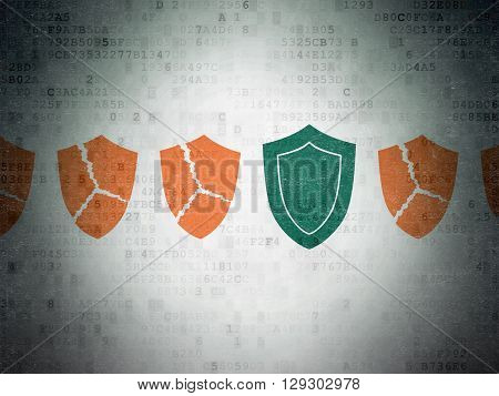 Security concept: row of Painted orange broken shield icons around green shield icon on Digital Data Paper background
