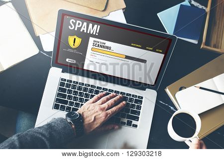 Spam Scanning Online Security Concept
