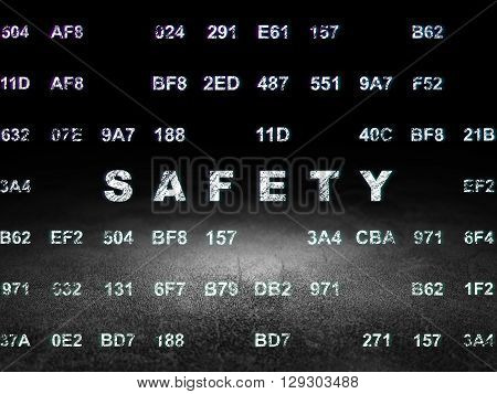Privacy concept: Glowing text Safety in grunge dark room with Dirty Floor, black background with Hexadecimal Code