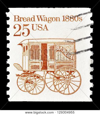 USA - CIRCA 1986 : Cancelled postage stamp printed by USA, that shows Bread wagon from 1880.