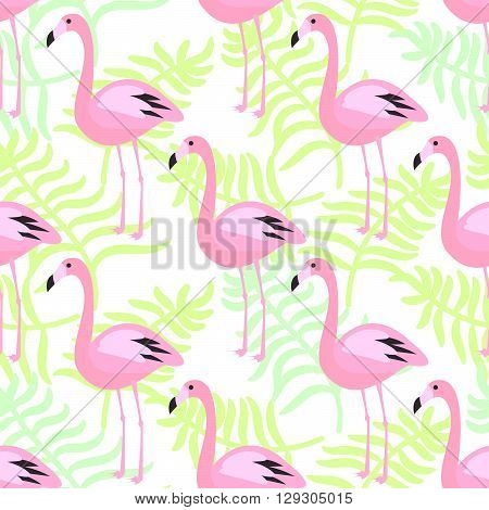 Flamingo seamless pattern. Pink exotic bird palm leaves background for wrap and textile.