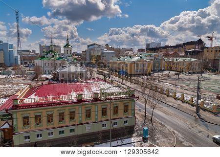 Tyumen, Russia - April 27, 2008: Aerial view on Ermolaev restaurant, church of Saviour, Pioneer Palace of arts and Tyumen state university