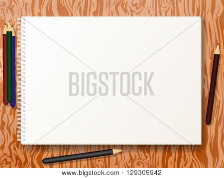 Vector illustration sketch pad with pencils on the wooden table background. Album for drawing.