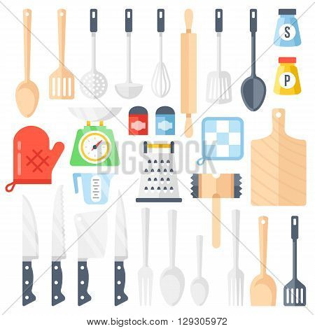 Kitchen tools, cooking equipment, kitchen utensils set. Large collection of different tools, instrument for cooking. Top view. Colorful flat icons set. Vector illustration isolated on white background