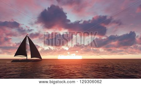 Sailing yacht in the sea at sunset