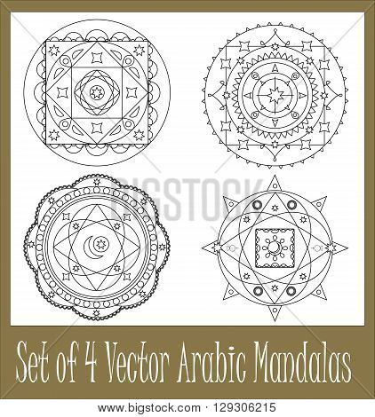Set of arabic mandalas vector mandala mehendi pattern collection of oriental mandala design arabic ornament abstract ornament for coloring book scalable mandala for background mandala vector