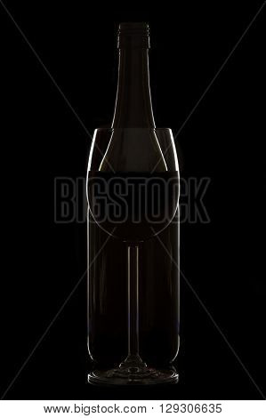 Wine glass and bottle on black background with rim lighting