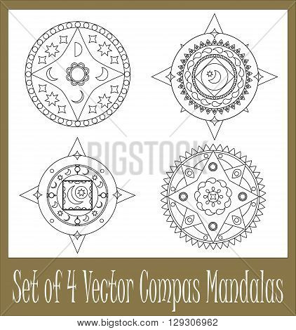 Set of mandalas meditation mandala ornament collection of mandalas on white background compass mandala abstract mandala ornament for wedding decor postcard party invitations and graphic design