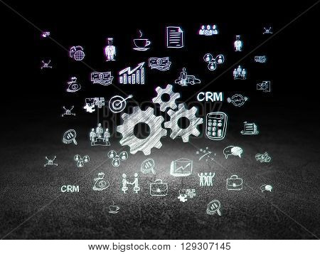 Business concept: Glowing Gears icon in grunge dark room with Dirty Floor, black background with  Hand Drawn Business Icons