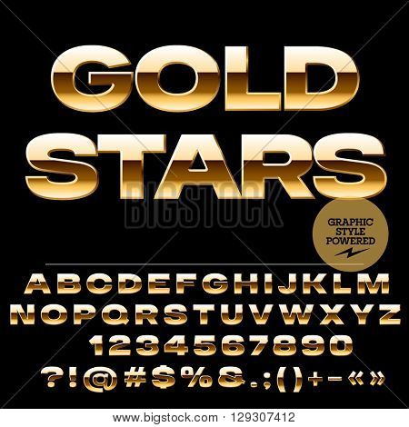 Vector set of glamour golden alphabet letters, numbers and punctuation symbols. Extended bold style