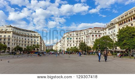 THESSALONIKI, GREECE - APRIL 25: Aristotelous Square on April 25, 2016 in Thessaloniki, Greece. Aristotelous Square is the main city square of Thessaloniki and is located on the city's waterfront.