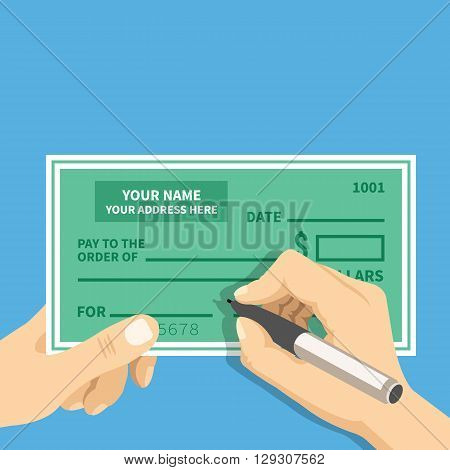 Man hands writing check. Hand hold bank check and hand hold pen filling check fields. Modern concept for web banners, web sites, infographics. Top view. Creative flat design vector illustration