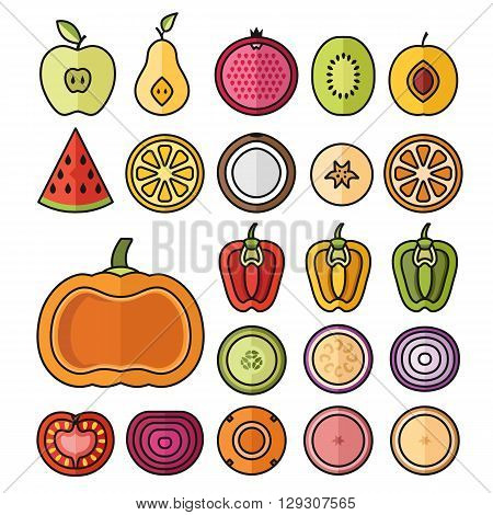 Vector fruit icons set. Thin line sliced fruits collection. Trendy colorful outline design slices isolated on white background. Vector illustration