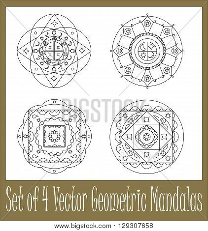 Set of geometric mandala vector illustrations for coloring mandala collection round islamic ornament mandala mandala graphic design mandala for scrapbooking stamp tattoo mehendi set