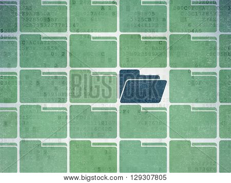 Business concept: rows of Painted green folder icons around blue folder icon on Digital Data Paper background
