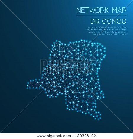 Congo, The Democratic Republic Of The Network Map. Abstract Polygonal Map Design. Internet Connectio