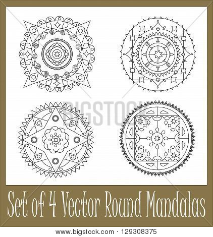 Set of round mandala - vector ornament for coloring and for graphic design circle vector ornament mandala