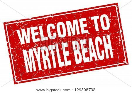 Myrtle Beach red square grunge welcome to stamp