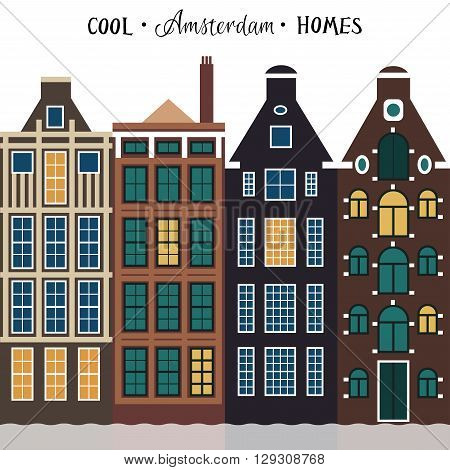 Amsterdam old houses. Architecture of Netherlands. Vector illustration