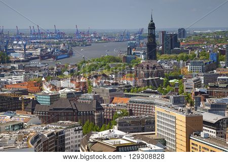 Hamburg. Aerial image of Hamburg with the St. Michael church and harbour.
