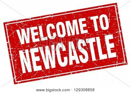 Newcastle red square grunge welcome to stamp