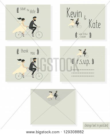 Just married wedding couple riding motobike, wedding invitation cards set