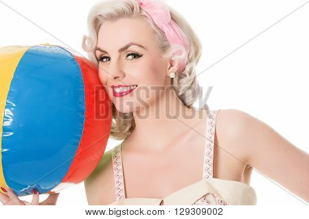 Beautiful Happy Blonde With Beachball, Isolated On White, Horizontal Format