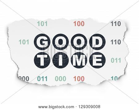 Time concept: Painted black text Good Time on Torn Paper background with  Binary Code