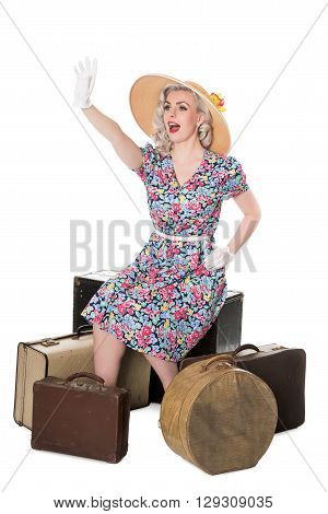 Beautiful Retro Blond Wearing Sun Hat, Seated With Vintage Suitcases, Isolated On White