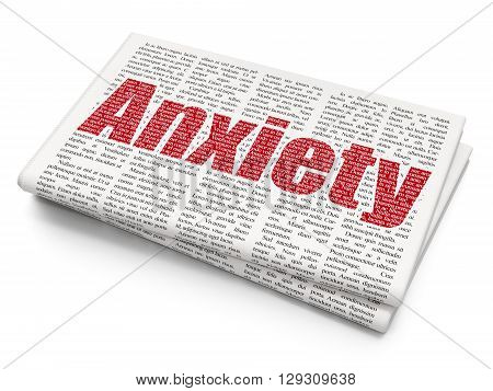 Health concept: Pixelated red text Anxiety on Newspaper background, 3D rendering
