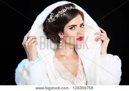 Wedding Hairstyle. Winter Girl In Fashion Fur Coat. Makeup. Luxury Clothing. Beautiful Model Woman I