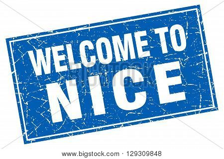 Nice blue square grunge welcome to stamp