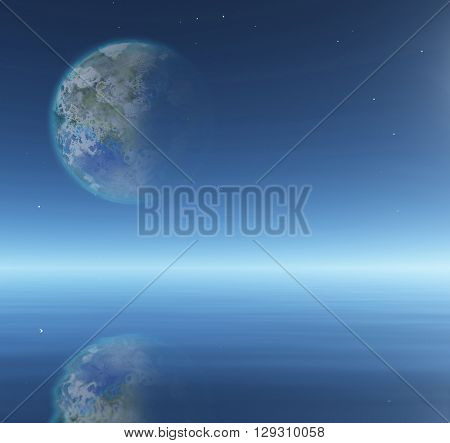 Terraformed Moon over water surface 3D Render