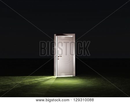 Partly closed door emits light 3D Render