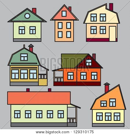 Drawings of individual buildings. Large and small. Vector illustration.